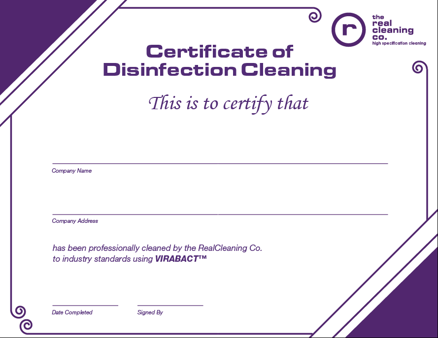 Real Cleaning Specialist Cleaning Certificate
