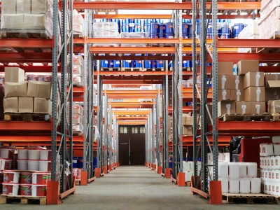 Aisle in Large Warehouse Racking Area