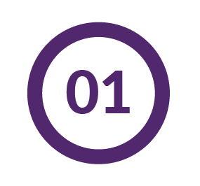 Number 1 in a purple circle